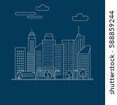 thin line city landscape... | Shutterstock .eps vector #588859244