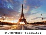 paris    eiffel tower at...   Shutterstock . vector #588861611