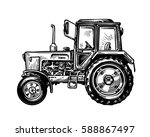hand drawn farm truck tractor.... | Shutterstock .eps vector #588867497