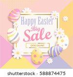 happy easter big sale banner  ... | Shutterstock .eps vector #588874475