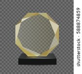 glass transparent trophy award. | Shutterstock .eps vector #588874859