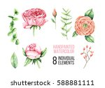 watercolor flowers | Shutterstock . vector #588881111