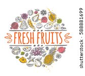 fresh fruits concept. hand... | Shutterstock .eps vector #588881699