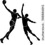 basketball game hook shot | Shutterstock .eps vector #588886841