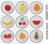 fruits flat icon set | Shutterstock .eps vector #588887399