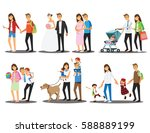 happy family set  vector... | Shutterstock .eps vector #588889199