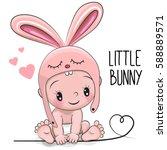 cute cartoon baby boy in a... | Shutterstock .eps vector #588889571