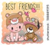 cute cartoon baby in a bear hat ... | Shutterstock .eps vector #588889595