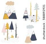 tribal hand drawn illustration...   Shutterstock .eps vector #588892931