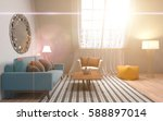 interior with sofa. 3d... | Shutterstock . vector #588897014