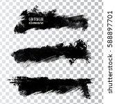 set of black paint  ink brush... | Shutterstock .eps vector #588897701