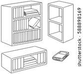 vector set of bookshelf | Shutterstock .eps vector #588898169