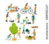 vector set of garden people... | Shutterstock .eps vector #588900167