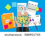 hands with money and folder... | Shutterstock . vector #588901745