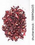 heap of red herbal tea. dried... | Shutterstock . vector #588906635