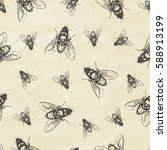 seamless pattern with flies.... | Shutterstock .eps vector #588913199