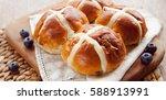 hot cross bun | Shutterstock . vector #588913991