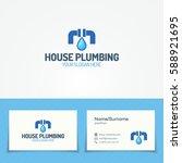 house plumbing service logo set ... | Shutterstock .eps vector #588921695