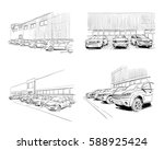 car showroom exterior design...   Shutterstock .eps vector #588925424