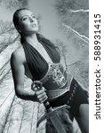 portrait of girl amazon. in the ...   Shutterstock . vector #588931415