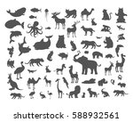 set of animals silhouettes.... | Shutterstock . vector #588932561