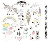 unicorn magic design element set | Shutterstock .eps vector #588935807