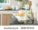 bun  bread and white ceramic... | Shutterstock . vector #588939545