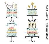 set of cakes in scandinavian... | Shutterstock .eps vector #588941549