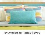 closeup pillows on bed  yellow... | Shutterstock . vector #588941999