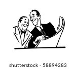 two men reading newspaper  ... | Shutterstock .eps vector #58894283
