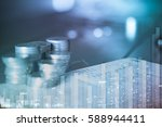 double exposure of rows of... | Shutterstock . vector #588944411