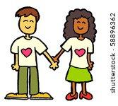 interracial couple - stock vector