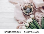 stylish easter egg with floral... | Shutterstock . vector #588968621