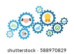 business icons inside in gears. ... | Shutterstock .eps vector #588970829
