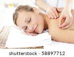 radiant woman receiving an... | Shutterstock . vector #58897712