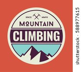 mountain climbing circular logo ... | Shutterstock .eps vector #588977615
