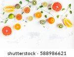 colorful fresh fruit on white...   Shutterstock . vector #588986621