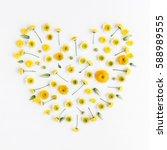 flowers composition. heart... | Shutterstock . vector #588989555