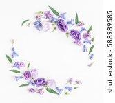 flowers composition. wreath...   Shutterstock . vector #588989585