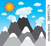 sun and clouds with mountains... | Shutterstock .eps vector #588992174