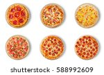 six different pizza set for... | Shutterstock . vector #588992609