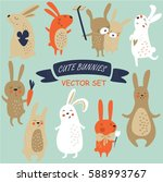vector set of cute bunnies in... | Shutterstock .eps vector #588993767