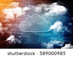 2d rendering cloud computing ... | Shutterstock . vector #589000985