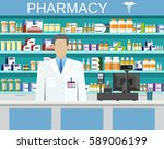 modern interior pharmacy or... | Shutterstock .eps vector #589006199