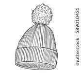 vector single sketch knitted... | Shutterstock .eps vector #589010435