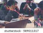Small photo of Team businessman with chart in the fall. economy or stock market going down.