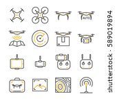 drone line icon set. included... | Shutterstock .eps vector #589019894