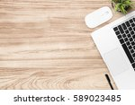 wood office desk table with...   Shutterstock . vector #589023485