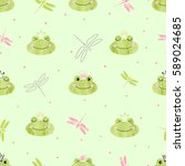 seamless pattern with cute... | Shutterstock .eps vector #589024685