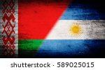flags of belarus and argentina... | Shutterstock . vector #589025015